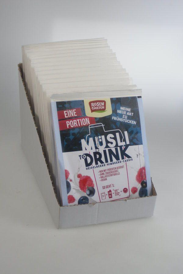 Rosengarten Müsli to Drink - Heidelbeere Himbeere Portionsbeutel 15x50g