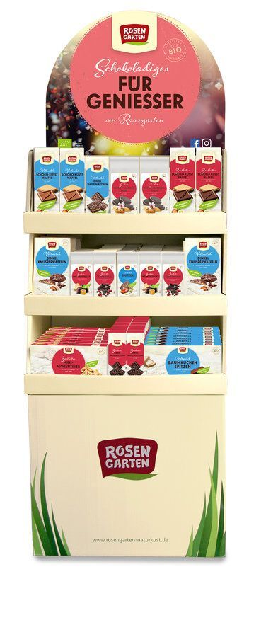 Rosengarten Confiserie-Display biologischer Anbau 1Dis