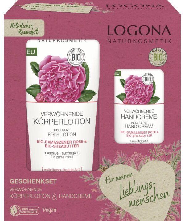 Logona SET Verwöhnende Körperlotion & Verwöhnende Handcreme Bio-Rose & Bio-Sheabutter 1Set