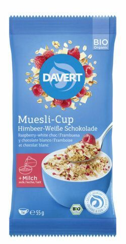 Davert Muesli-Cup Himbeer-Weiße Schokolade 8x55g