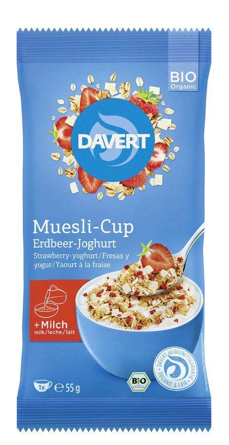 Davert Muesli-Cup Erdbeer-Joghurt 8x55g
