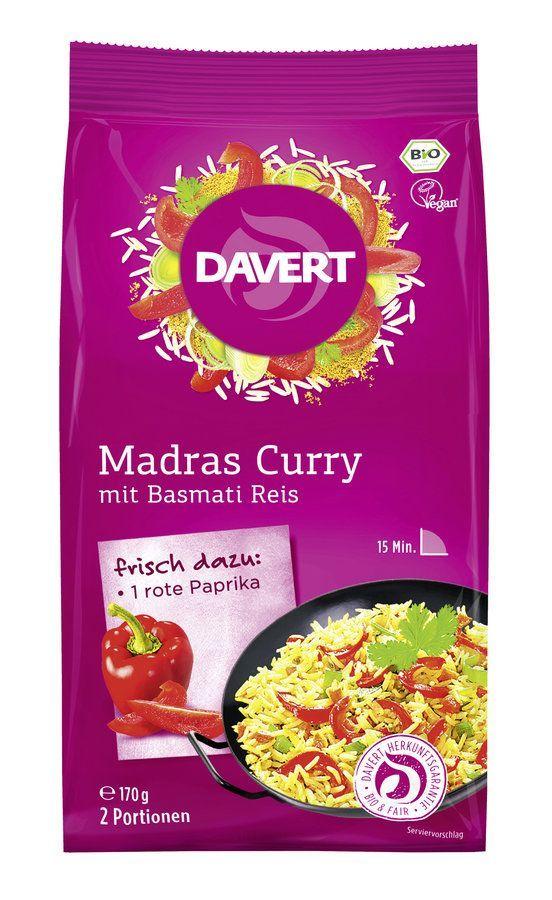 Davert Madras Curry, mit Basmati Reis 170g 6x170g