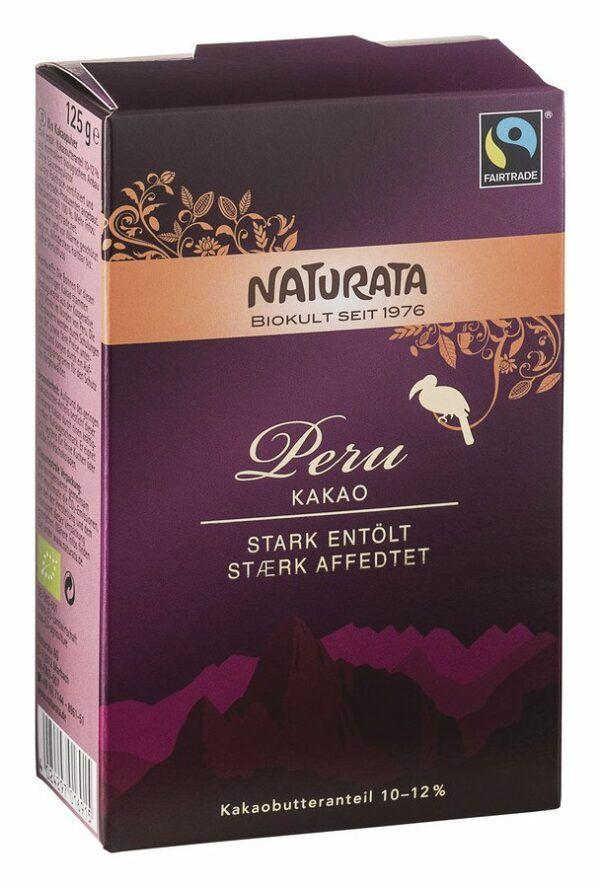 NATURATA  Peru Kakao, stark entölt, 10-12 % Kakaobutter 10x125g
