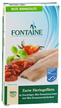 Fontaine Zarte Heringsfilets in Bio-Tomatencreme mit Tomatenstückchen 200g
