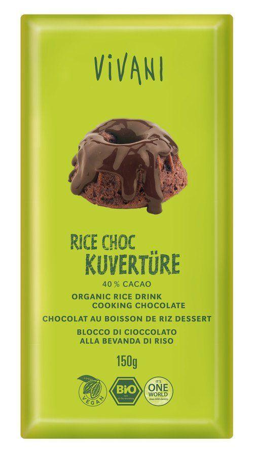 Vivani Rice Choc Kuvertüre 40% Cacao 12x150g