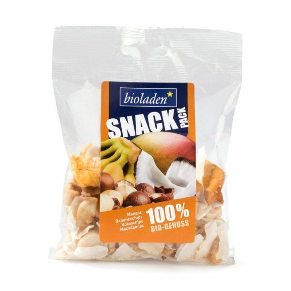 bioladen Snack-Pack orange (Mangos, Bananenchips, Kokoschips, Macadamias) 75g