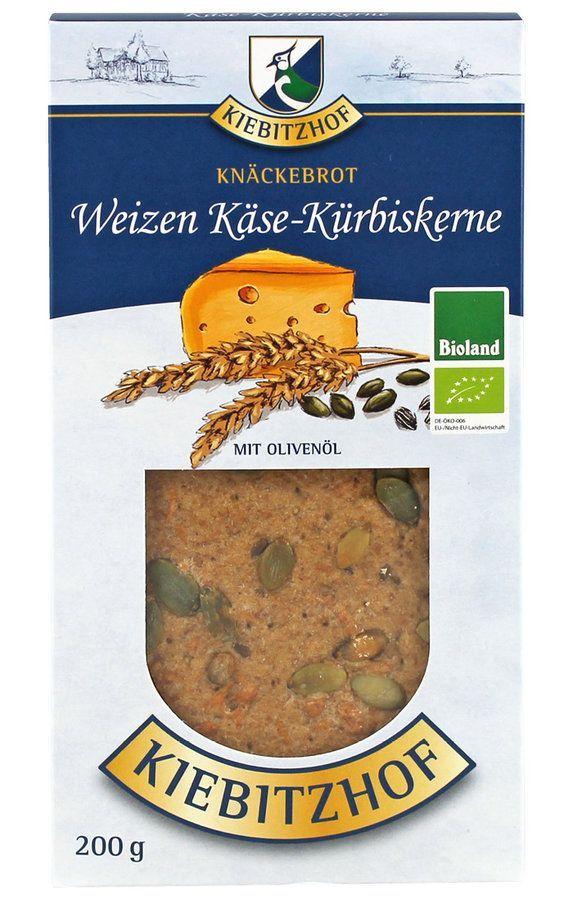 Kiebitzhof Knäckebrot Weizen - Käse Kürbiskerne, Bioland 6x200g