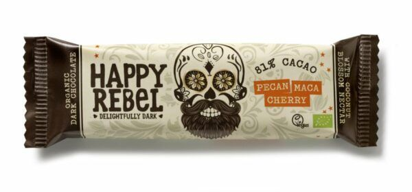 Happy Rebel Riegel 38 g 81% Cacao, Pecan/Maca/Cherry 24x38g