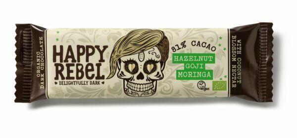 Happy Rebel Riegel 38 g 81% Hazelnut/Goji/Moringa 24x38g