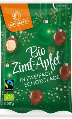 Landgarten Bio FT Zimt-Apfel in zweifach Schokolade  50g