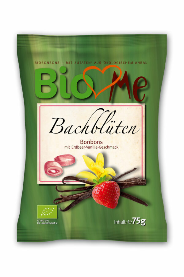 BIO loves Me Bachblüten Bio-Bonbons mit Erdbeer-Vanille Geschmack 75g