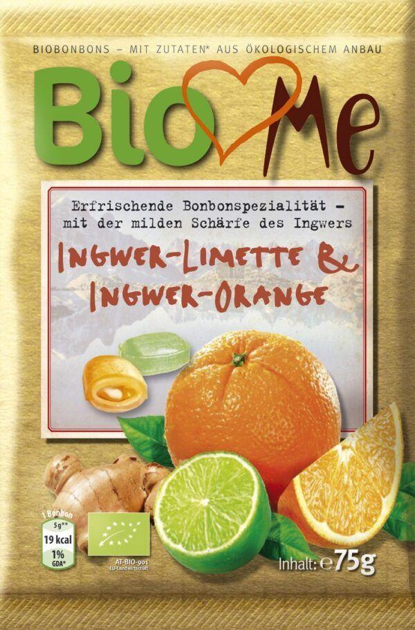 BIO loves Me Gefüllte Bio-Bonbons mit Ingwer-Limette & Ingwer-Orange Geschmack 15x75g