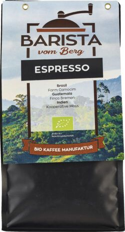 Barista vom Berg Bio Espresso 500 g - ganze Bohne 8x500g