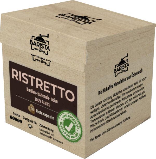 Barista vom Berg Biokaffeekapsel aus Holz Ristretto 8x108g