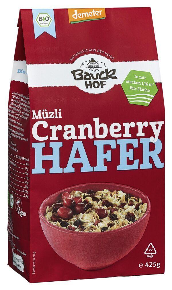 Bauckhof Hafer Müzli Cranberry Demeter 8x425g
