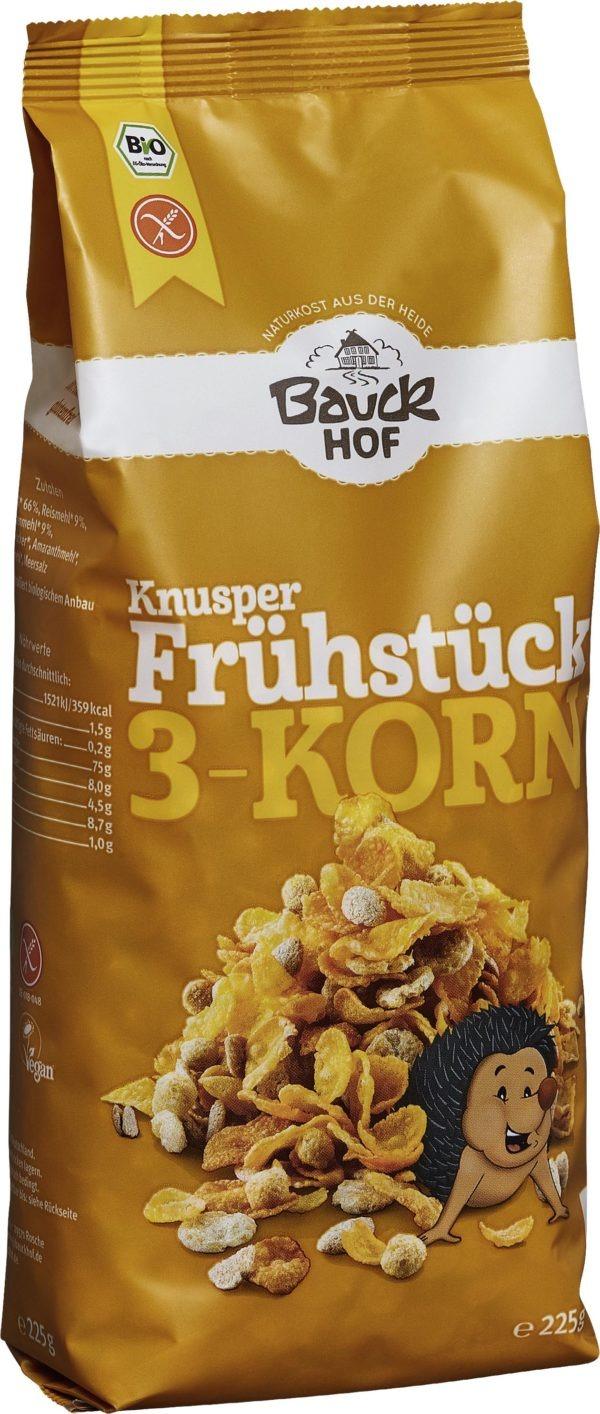 Bauckhof Knusper Frühstück 3-Korn glutenfrei Bio 6x225g