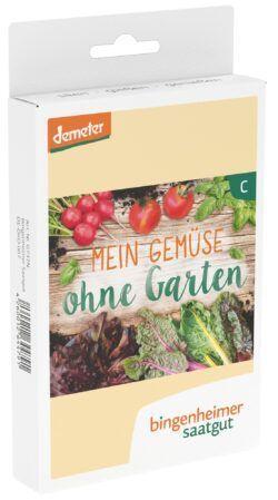 Bingenheimer Saatgut Mein Gemüse ohne Garten - 5 Sorten für den Balkon oder das Hochbeet 3x1Stück