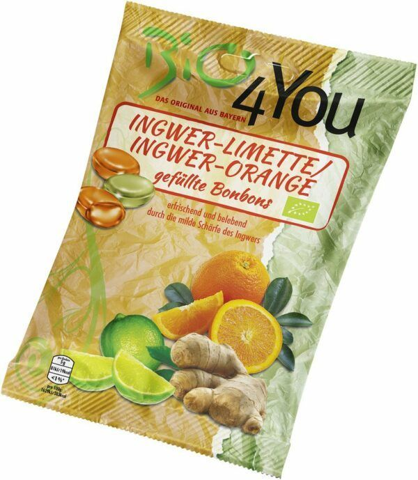 Bio4You Bio-Bonbon-Ingwer-Limette & Ingwer-Orange, gefüllt 75g