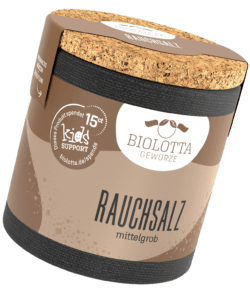 Biolotta Korkdose Rauchsalz (über Fichtenholz und Wacholder geräuchert) 4x95g