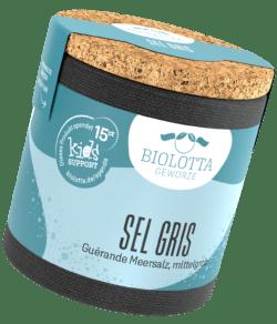 Biolotta Korkdose Sel Gris Guérande Meersalz, mittelgrob 4x85g