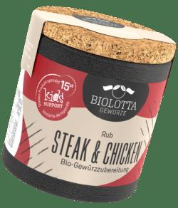 Biolotta Korkdose Steak und Chicken Rub Bio-Gewürzzubereitung 4x50g
