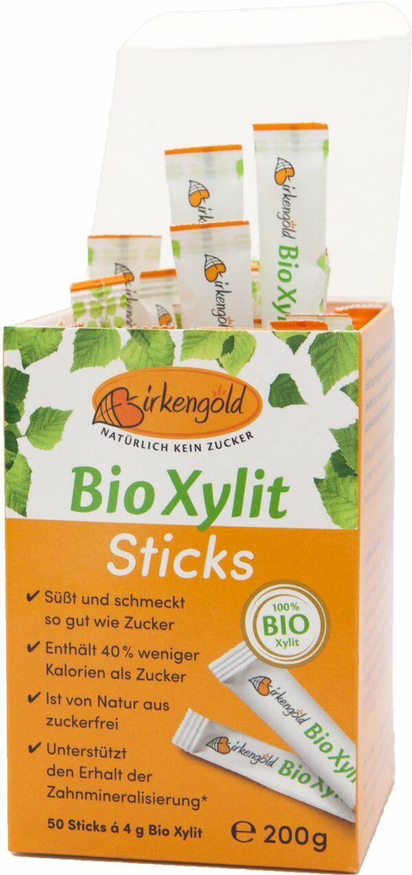Birkengold Bio Xylit Sticks à 4g - 50 Stück im Karton 6x200g