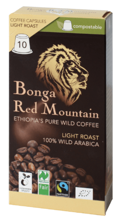 Bonga Red Mountain Bonga Red Mountain, Kapseln, Light Roast, kompatibel mit Nespresso® Machinen, kompostierbar 55g