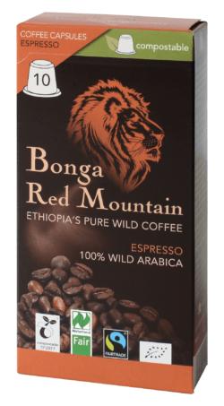 Bonga Red Mountain  Bonga Red Mountain, Kapseln, Espresso, kompatibel mit Nespresso® Machinen, kompostierbar 6x55g