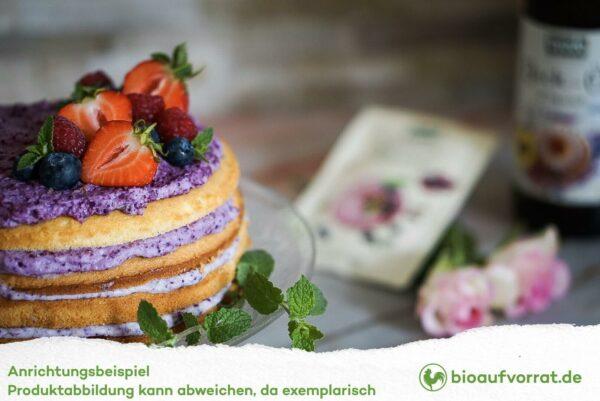 Kuchen gebacken mit Byodo Backöl und Byodo Beeren Mousse Nahaufnahme des Kuchens
