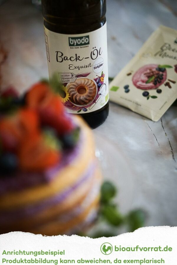 Kuchen gebacken mit Byodo Backöl und Byodo Beeren Mousse