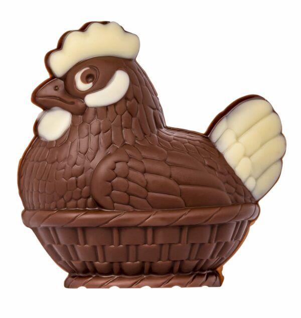 Chocolat Schönenberger Henne im Nest, Vollmilch- und weisse Schokolade 12x50g