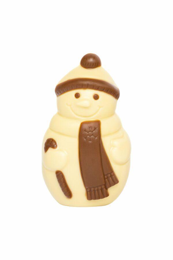 Chocolat Schönenberger Schneemann mit Halstuch, weisse Kakaobuttermasse, VEGAN 12x35g