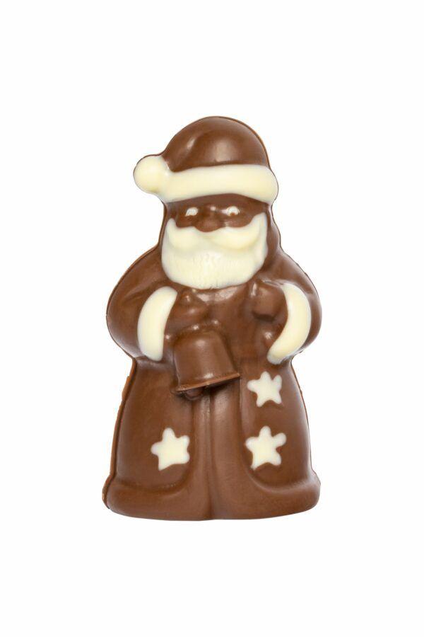 Chocolat Schönenberger Weihnachtsmann im Sternenkleid, Vollmilch- & weisse Schokolade 12x50g