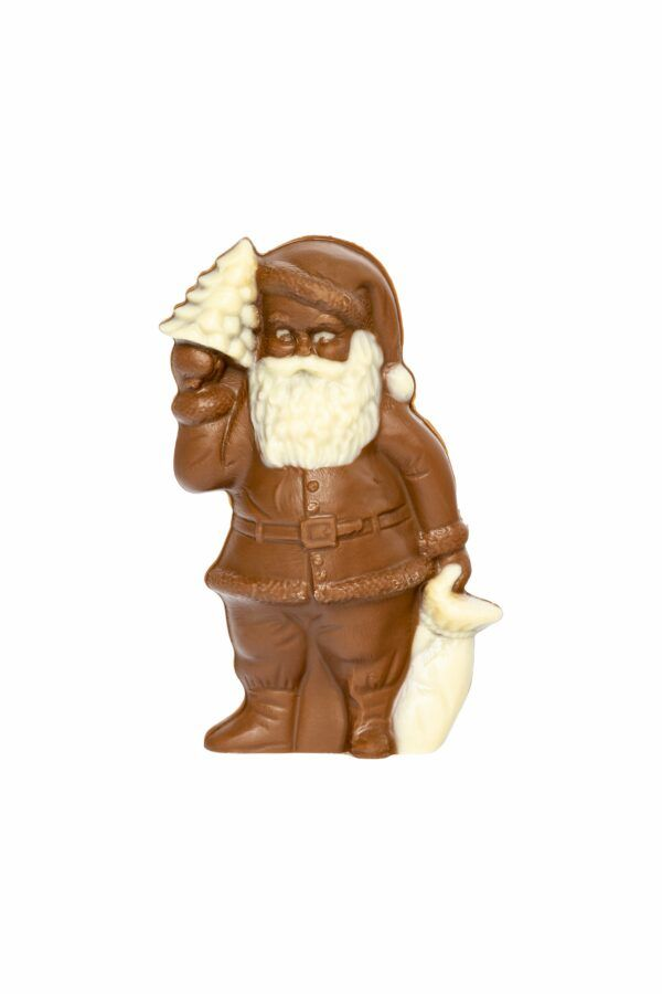 Chocolat Schönenberger Weihnachtsmann mit Tannenbaum, Kakaobutter- und Kakaomasse, VEGAN 12x100g