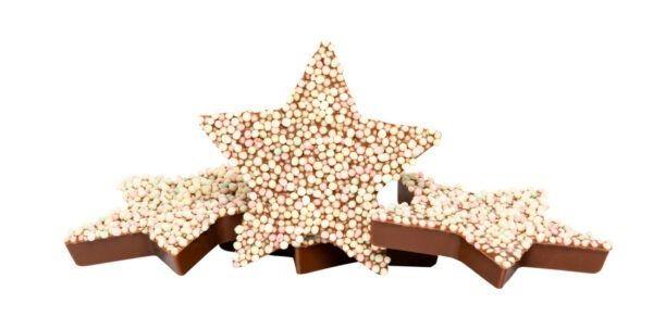 Chocolat Schönenberger Weihnachtssterne mit Nonpareilles, Vollmilchschokolade 12x90g