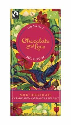 Chocolate And Love Milk chocolate with caramelised Hazelnut and Sea Salt 14x80g
