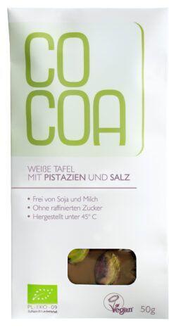 Cocoa Weiße Tafel mit Pistazien und Salz 10x50g