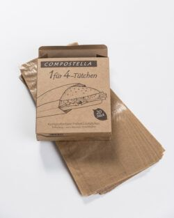Compostella Kompostierbare Naturpapiertüten zum Erhitzen von Snacks und zum Einfrieren trockener Speisen 14x3l