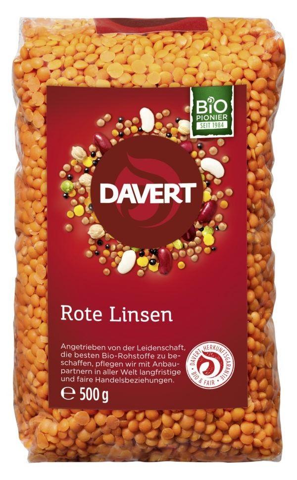Davert Rote Ganze Linsen 8x500g