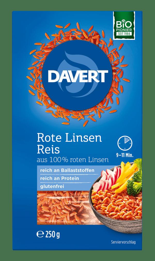 Davert Rote Linsen Reis 8x250g