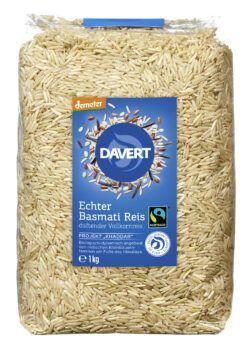 Davert demeter Echter Basmati Reis Vollkornreis Fairtrade 8x1kg
