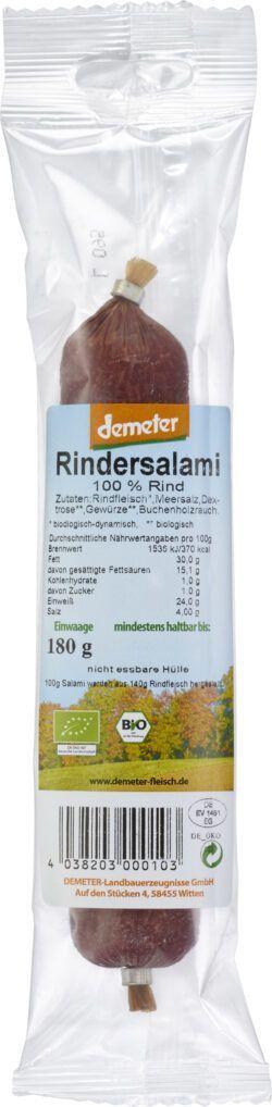 Demeter Landbauerzeugnisse Demeter Rindersalami am Stück 5x180g