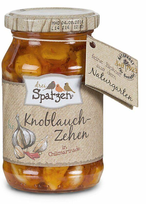 Drei Spatzen Bio Knoblauchzehen in Chilimarinade 6x250g