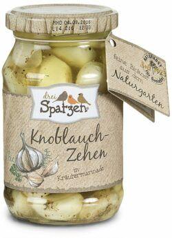 Drei Spatzen Bio Knoblauchzehen in Kräutermarinade 6x250g