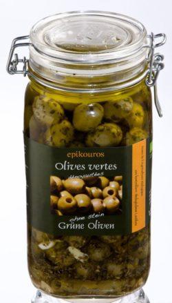 EPIKOUROS Grüne Oliven entsteint, in Kräuteröl, kaltverarbeitet 1,5kg