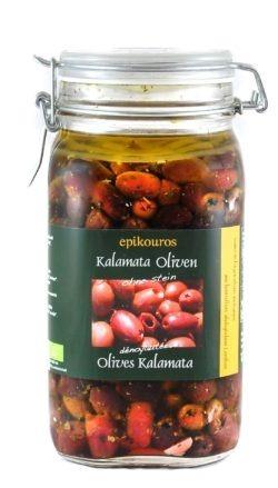 EPIKOUROS Kalamata-Oliven entsteint, in Kräuteröl, kaltverarbeitet 1,5kg