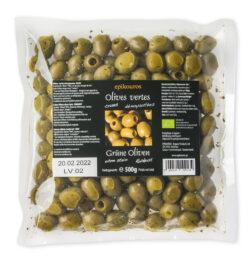 EPIKOUROS Grüne Oliven entsteint, mit Kräutern und geölt, Rohkost, nicht kühlpflichtig 2x500g