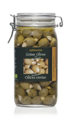 EPIKOUROS Grüne Oliven gefüllt mit Mandeln, in Kräuteröl, kaltverarbeitet 1,5kg