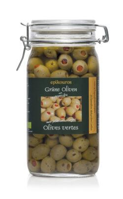 EPIKOUROS Grüne Oliven gefüllt mit rotem Paprika, in Kräuteröl, kaltverarbeitet 1,5kg