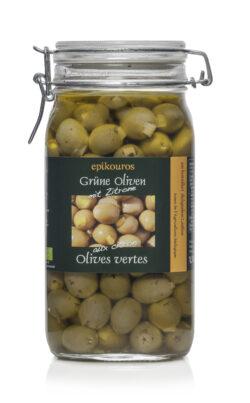 EPIKOUROS Grüne Oliven gefüllt mit Zitrone, in Kräuteröl, kaltverarbeitet 1,5kg